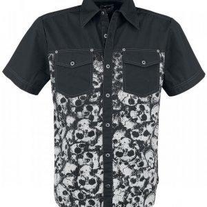 Black Premium By Emp Allover Skull Shirt Kauluspaita