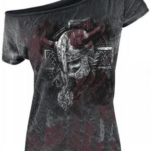 Black Premium By Emp Broken Viking Spray Washed Naisten T-paita