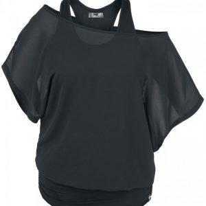 Black Premium By Emp Chiffon Bat Double Layer Naisten T-paita