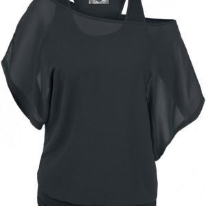 Black Premium By Emp Chiffon Bat Double Layer Naisten T-paita