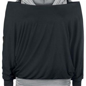 Black Premium By Emp Hooded Bat Double Layer Naisten Pitkähihainen Paita