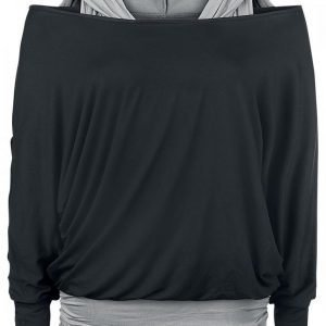 Black Premium By Emp Hooded Bat Double Layer Naisten Pitkähihainen Paita
