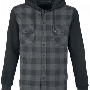 Black Premium By Emp Hooded Checked Shirt Kauluspaita