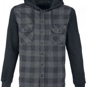 Black Premium By Emp Hooded Checked Shirt Kauluspaita