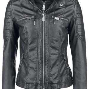 Black Premium By Emp Hooded Faux Leather Jacket Naisten Välikausitakki