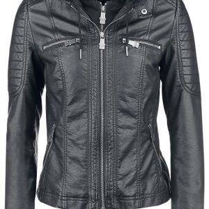 Black Premium By Emp Hooded Faux Leather Jacket Naisten Välikausitakki
