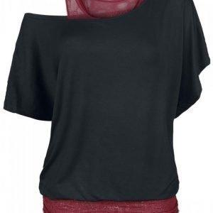 Black Premium By Emp Lace Bat Double Layer Naisten T-paita