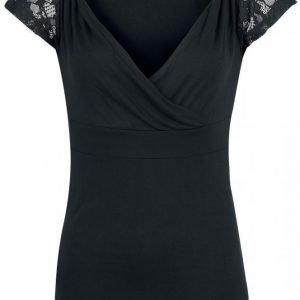 Black Premium By Emp Lace V Neck Naisten T-paita