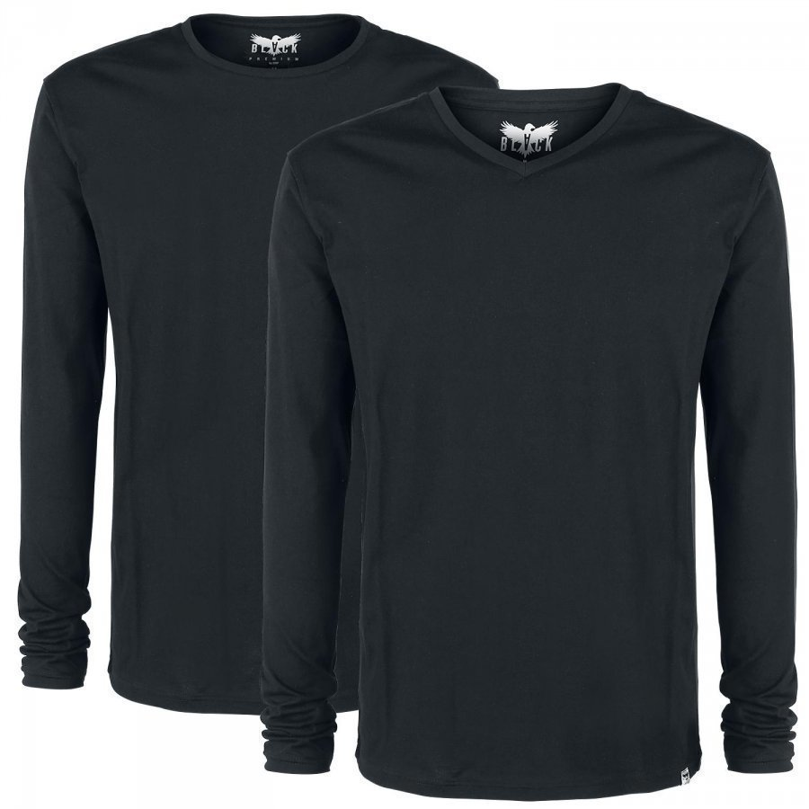 Black Premium By Emp Pack Of Two Basic Longsleeves Pitkähihainen Paita
