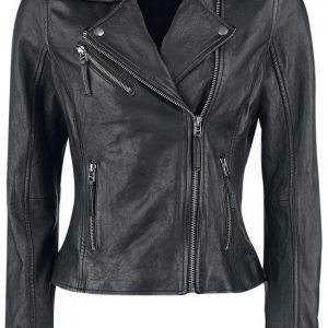 Black Premium By Emp Skull Leather Jacket Naisten Nahkatakki
