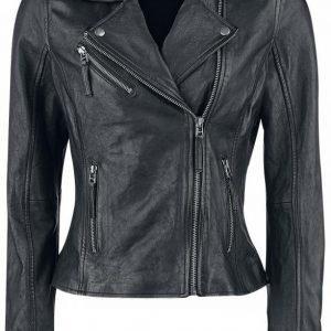 Black Premium By Emp Skull Leather Jacket Naisten Nahkatakki