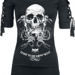 Black Premium By Emp Snake Skull Cut Out Shirt Naisten T-paita