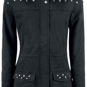 Black Premium By Emp Studded Ladies Parka Naisten Välikausitakki