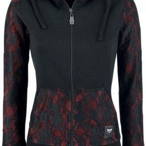 Black Premium By Emp Two Tone Lace Hoodie Jacket Naisten Vetoketjuhuppari