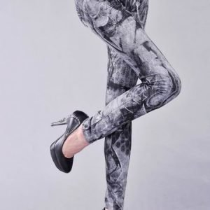 Black Punk Tattoo jeans print leggings