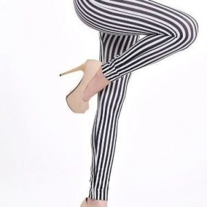 Black and WhiteStriped Leggings Tights