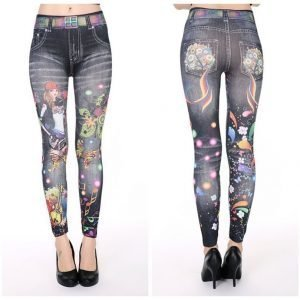 Black denim leggings with flames jeans print leggings