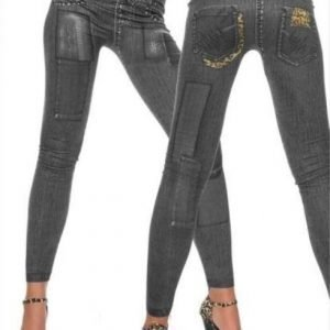 Black leopard patch jeans print leggings
