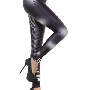Black shiny Leggings Tights with white pattern