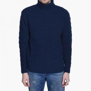 Bleu De Paname Pullover Col Roule Irlandais