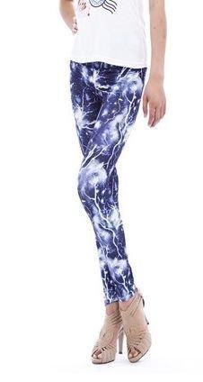 Blue Lightning Leggings Tights