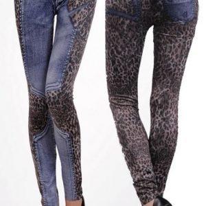 Blue leopard jeans print leggins