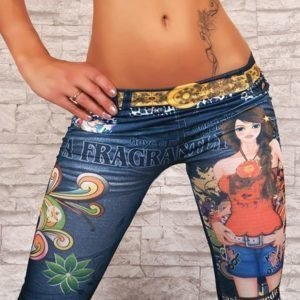 Blue tattoo girl jeans print leggings