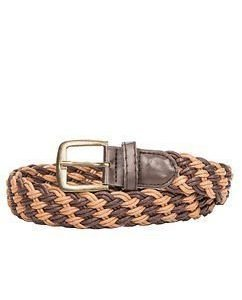 Braided Canvas Belt Double Brown