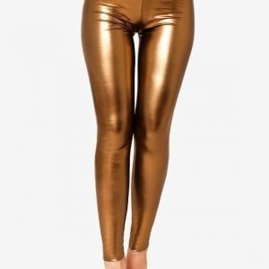 Brown Gold Metallic Leggings Tights
