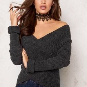 Bubbleroom Brixia knitted sweater Anthracite grey melange