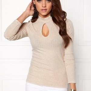 Bubbleroom Jannie rib top Beige melange