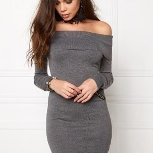 Bubbleroom Offshoulder knitted dress Dark grey melange