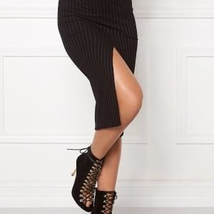 Bubbleroom Rib slit skirt Black