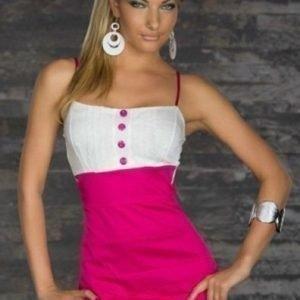 Button pinkkivalkoinen minimekko (Plus Size)