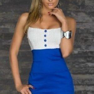 Button sinivalkoinen minimekko (Plus Size)