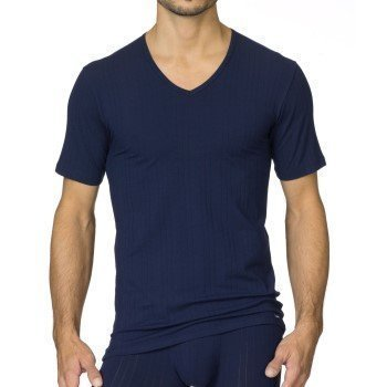 Calida Pure & Striped V-Neck T-Shirt Navy