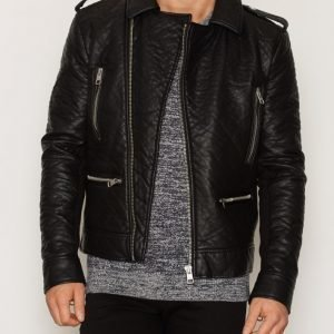 Calvin Klein Jeans Minors Mix Media Biker Jacket Takki Black