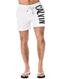 Calvin Klein Medium Drawstring Swimshort White/Black