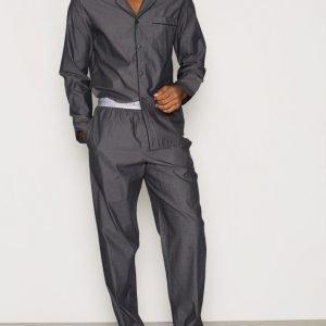Calvin Klein Underwear Liquid Cotton Sateen PJ Set Pyjamasetti Charcoal