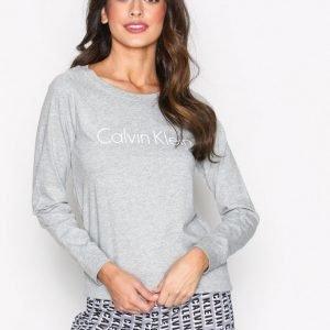 Calvin Klein Underwear Long Sleeve Curve Neck Yöpaita Harmaa