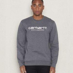 Carhartt Wip Script Sweatshirt Dark Grey Heather/White