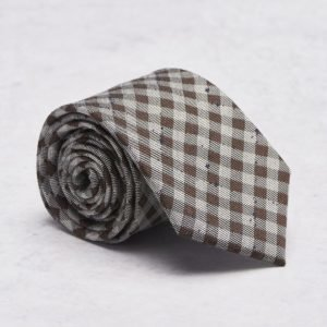 Castor Pollux Croatus Tie Brown/Grey Check