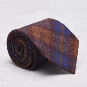 Castor Pollux Croatus Tie Cognac/Blue Check Flannel