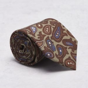 Castor Pollux Croatus Tie Paisley Brown Flanell