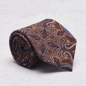 Castor Pollux Croatus Tie Paisley Cognac/Blue Flannel