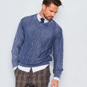 Castor Pollux Matteus Cable Knitted Sweater Indigo