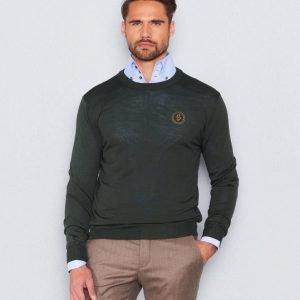Castor Pollux Merinos Knitted Sweater Green Merino Melange