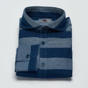Castor Pollux Piros Shirt Blue Horizontal Stripe