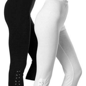 Cellbes Leggingsit 2-Pakkaus Musta Valkoinen