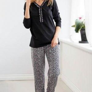 Cellbes Pyjama Mel. harmaa Leopardi